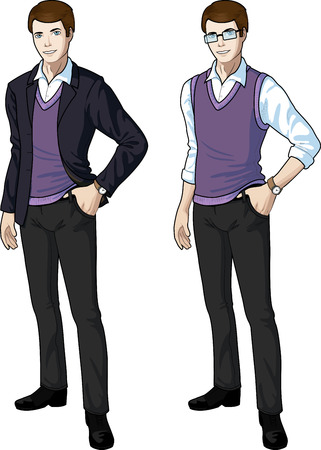 ethnicity: office clerk of Caucasian ethnicity in casual formal wear for office vector isolated illustrations variation set