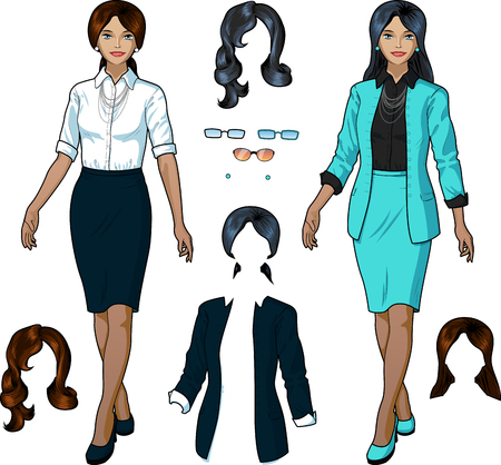 variation: Beautiful Indonesian businesswoman in elegant formal wear for office vector isolated illustrations variation set Illustration