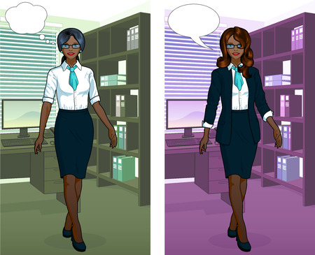 african woman at work: Beautiful businesswoman of African ethnicity in office interior scene with detailed background vector  illustrations variation set
