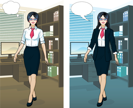 asian ethnicity: Beautiful businesswoman of Asian ethnicity in office interior scene with detailed background vector  illustrations variation set