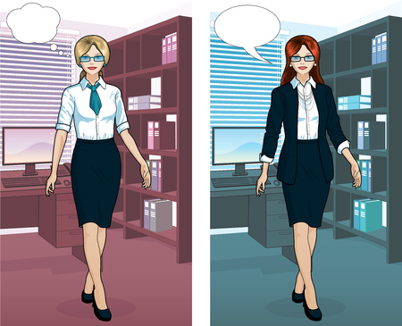 Beautiful businesswoman of Caucasian ethnicity in office interior scene with detailed background vector  illustrations variation set