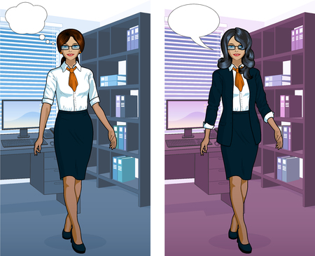 secretary: Beautiful Indonesian businesswoman in office interior scene with detailed background vector  illustrations variation set