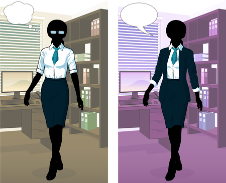 Businesswoman silhouette in office interior scene with detailed background vector  illustrations variation set