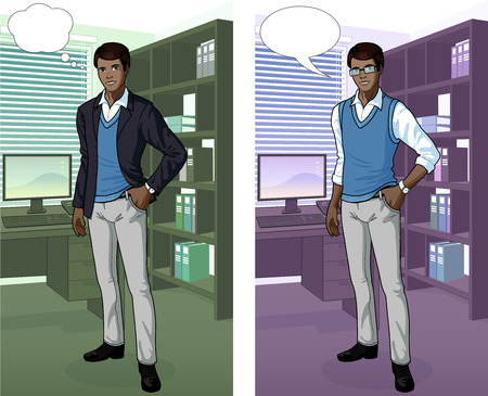standing man: Businessman of African ethnicity in office interior scene with detailed background vector illustrations variation set