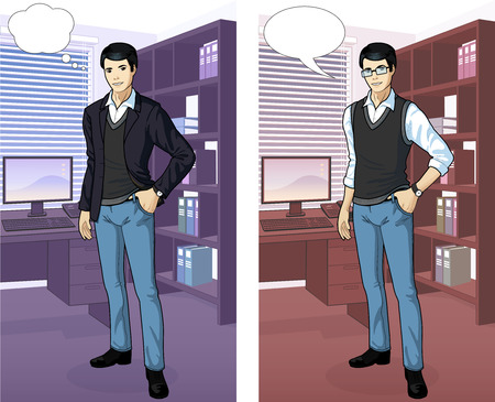 asian ethnicity: Businessman of Asian ethnicity in office interior scene with detailed background vector illustrations variation set