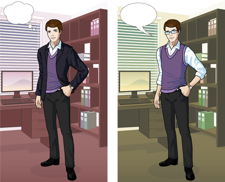 Businessman of Caucasian ethnicity in office interior scene with detailed background vector illustrations variation set Иллюстрация