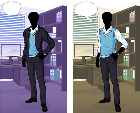 Businessman silhouette in office interior scene with detailed background vector  illustrations variation set