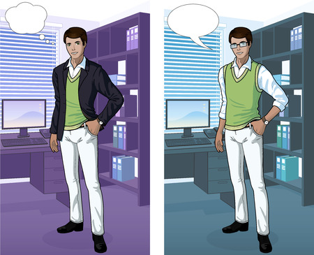 Indonesian  Businessman in office interior scene with detailed background vector illustrations variation set