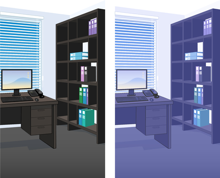 domestic room: Office interior scene detailed vertical background vector illustration variation set