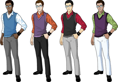 Young man student in casual formal wear for office vector isolated illustrations multi-ethnic variation set Vettoriali