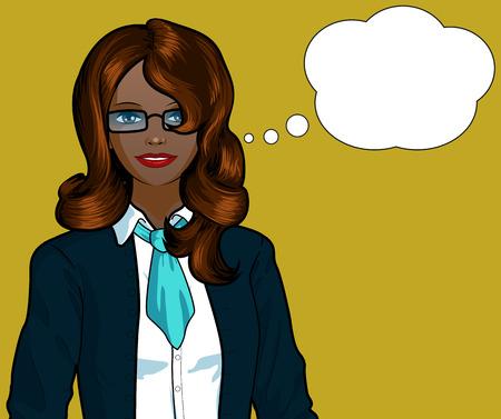 Beautiful businesswoman of African ethnicity pop art comic scene on simple background illustration