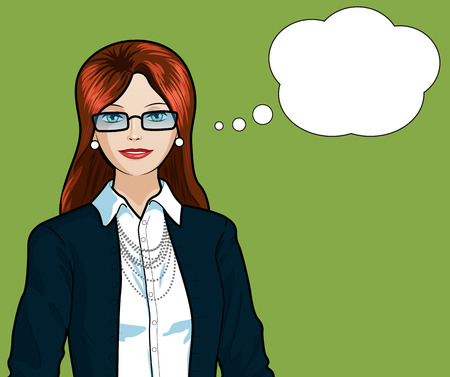 Beautiful businesswoman of Caucasian ethnicity pop art comic scene on simple background illustration Illustration