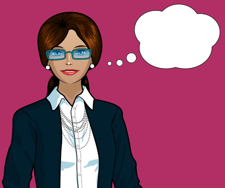 indonesian: Beautiful businesswoman of Indonesian ethnicity pop art comic scene on simple background illustration