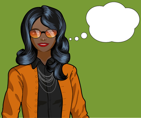 Beautiful woman of African ethnicity pop art comic scene on simple background illustration Иллюстрация