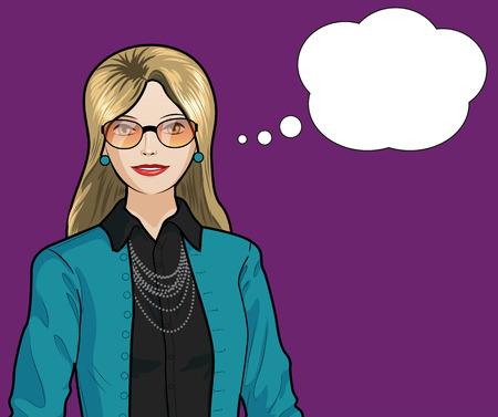 Beautiful businesswoman of Caucasian ethnicity pop art comic scene on simple background illustration Иллюстрация