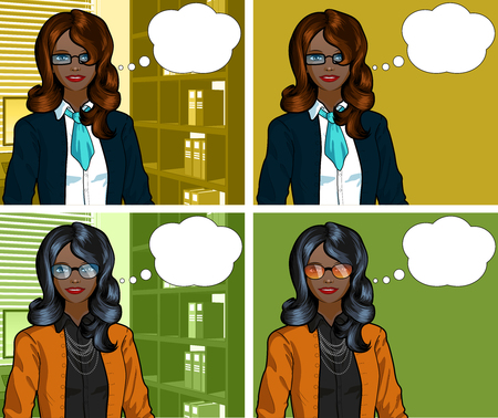 Beautiful businesswoman of African ethnicity in office interior pop art comic scene with and without detailed background illustrations variation set