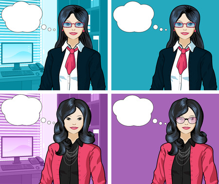 asian ethnicity: Beautiful businesswoman of Asian ethnicity in office interior pop art comic scene with and without detailed background illustrations variation set Illustration