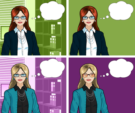 Beautiful businesswoman of Caucasian ethnicity in office interior pop art comic scene with and without detailed background illustrations variation set Illustration