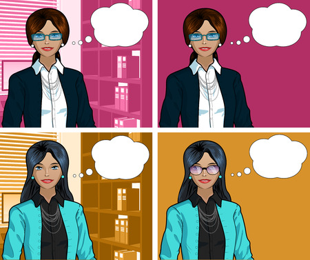 Beautiful businesswoman of Indonesian ethnicity in office interior pop art comic scene with and without detailed background illustrations variation set Vettoriali