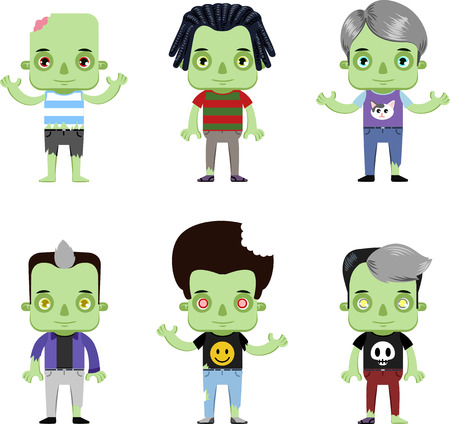 Male Zombie personal Avatar flat design character set isolated vector illustration Vettoriali