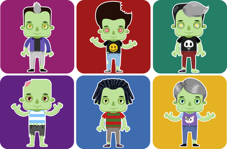 Male Zombie personal Avatar flat design character set vector illustration