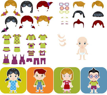 Caucasian child boy and girl flat design character creation set vector isolated