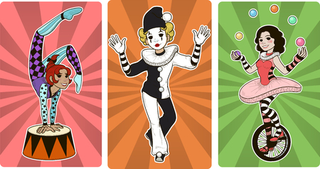 Set of Gymnast mime clown and juggler circus characters cartoon style Illustration
