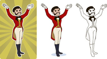 entertainer circus character cartoon style colored and line art