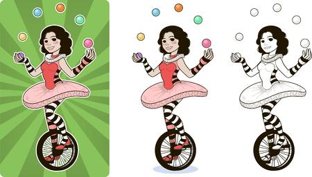 juggler circus character female Иллюстрация