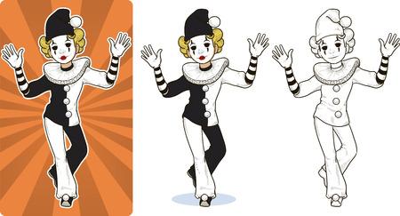 Mime blanc clown cirque caractère style dessin animé coloré et ligne art. Vecteurs
