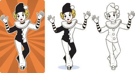 Mime white clown circus character cartoon style colored and line art.