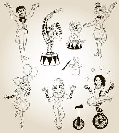 Set of human circus characters