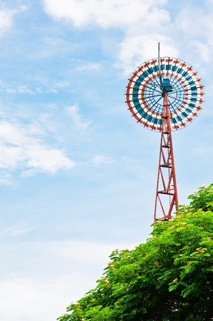 Windmill on clear sky. Stock Photo