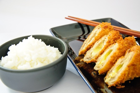 Deep fried roll pork with cheese. Serve with Japanese rice. Stock Photo