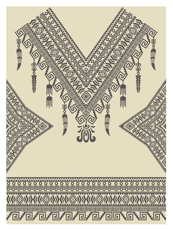 neckline: Design neckline, sleeves and border in ethnic style. Bohemian chic style. Native american indian ornaments for decorations and fabrics. Vector embellishment.