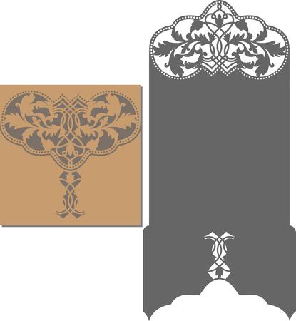 Papel cortado tarjeta. patrón de corte láser para la tarjeta de invitación para la boda. plantilla de sobre de la invitación de la boda. Ilustración de vector