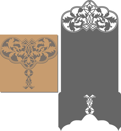 corte laser: Papel cortado tarjeta. patrón de corte láser para la tarjeta de invitación para la boda. plantilla de sobre de la invitación de la boda.