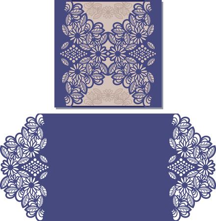 紙のカードをカットします。レーザーは、結婚式の招待状のパターンをカットします。切り絵。結婚式の招待状のテンプレートです。  イラスト・ベクター素材