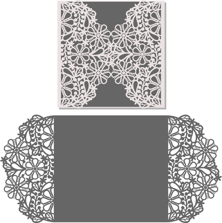 Laser Cut Invitation Card. Laser-cut pattern for invitation wedding card. Wedding invitation envelope template.