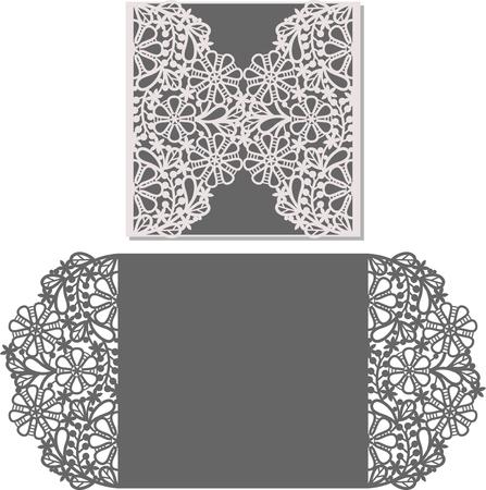 grecas: Tarjeta de la invitación del corte del laser. patrón cortado con láser para la tarjeta de invitación de boda. plantilla de sobre de la invitación de la boda.