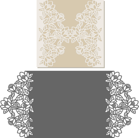 Laser Cut Invitation Card. Laser-cut pattern for invitation wedding card. Wedding invitation envelope template. Çizim
