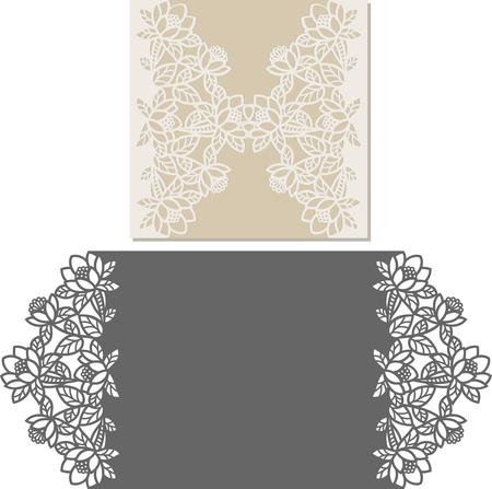 Tarjeta de invitación con corte láser. Patrón cortado con láser para invitación de boda. Plantilla de sobre de invitación de boda.