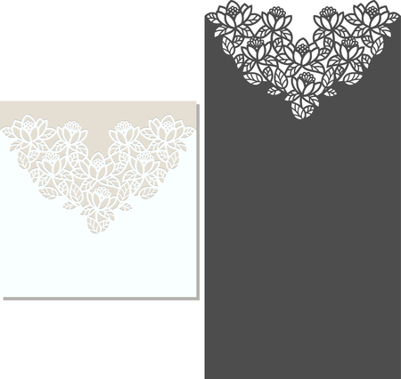 Laser Cut Invitation Card. Laser-cut pattern for invitation wedding card. Wedding invitation envelope template.  イラスト・ベクター素材