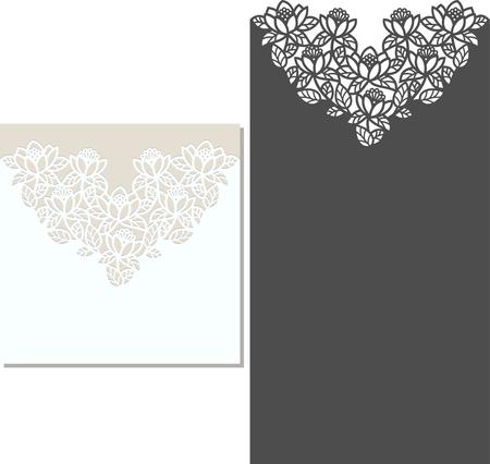 cut paper: Laser Cut Invitation Card. Laser-cut pattern for invitation wedding card. Wedding invitation envelope template. Illustration