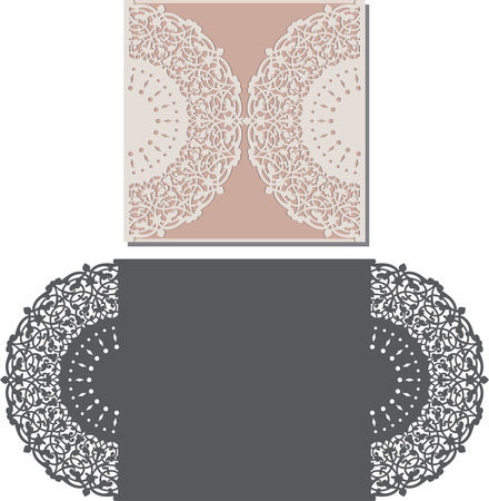 lace frame: Laser Cut Invitation Card. Laser-cut pattern for invitation wedding card. Wedding invitation envelope template. Illustration