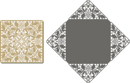 Laser Cut Invitation Card. Laser-cut pattern for invitation wedding card. Wedding invitation envelope template. Illustration