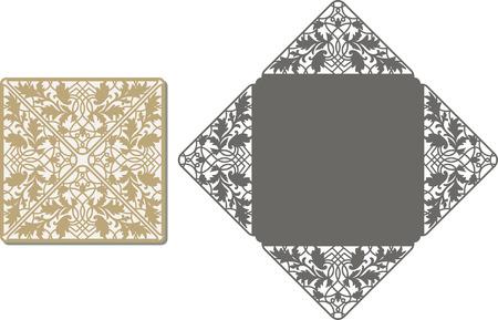 Tarjeta de la invitación del corte del laser. patrón cortado con láser para la tarjeta de invitación de boda. plantilla de sobre de la invitación de la boda.