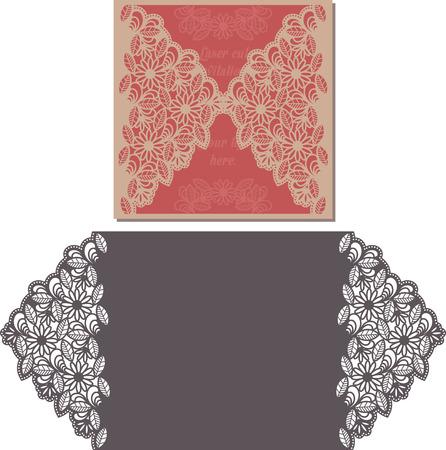 postcard design: Laser Cut Invitation Card. Laser-cut pattern for invitation wedding card. Wedding invitation envelope template. Illustration