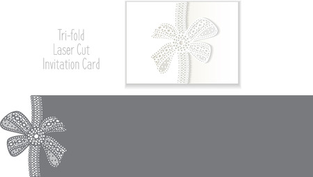 Laser Cut Invitation Card. Laser-cut pattern for invitation wedding card. Wedding invitation envelope template. Illustration