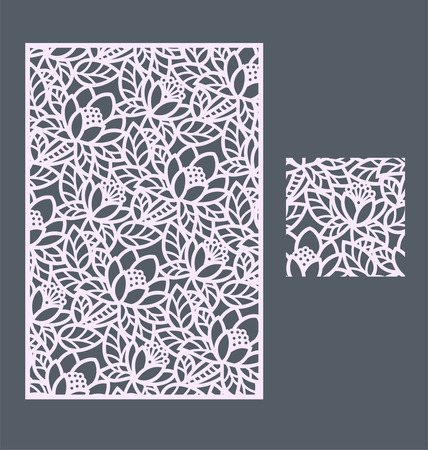 paper cutting: Laser cut panel and the seamless pattern for decorative panel. A picture suitable for printing, engraving, laser cutting paper, wood, metal, stencil manufacturing. Illustration